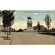 Lee's Monument and Monument Ave Richmond, Virginia Original Vintage Postcard