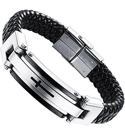 Ostan Mens Bracelet Men's Stainless Steel Bracelet Braided Religious Cross Cuff Bangle Rope Black (Style 1)