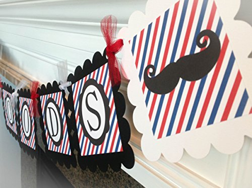 PARTY PACK SPECIAL - It's a Boy Barbershop Baby Shower Collection - Red & Blue Stripes with Black Accents and Mustache Graphics