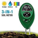 Soil PH Meter 3-in-1 Soil Test Kit Moisture Lawn PH Tester Digital with Moister PH Sunlight for Plants Garden Home FarmIndoor & Outdoor (No Battery Needed)
