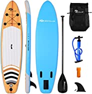 SPSUPE 11ft Stand up Paddle Board, Inflatable Surfboard with Retractable Paddle, Body Surfing Board, Pump Incl