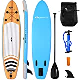 Goplus Inflatable Stand Up Paddle Board iSUP Cruiser 6' Thickness iSUP Package w/3 Fins Thuster, Adjustable Paddle, Pump Kit and Carry Backpack (Wood and Blue, 11 FT)
