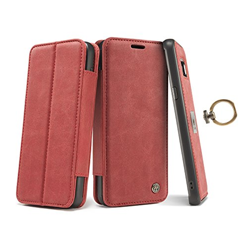 Galaxy S8 Plus Case,AKHVRS Genuine Leather Galaxy S8 Plus Detachable Case [2 in 1] Metal Ring Buckle with Slim Removable Case,Strong Magnetic Leather Folio Flip Cover for Samsung Galaxy S8 Plus - Red -