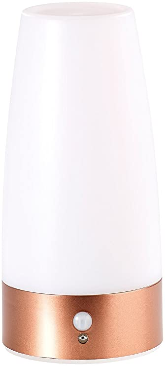 Lunartec - Lámpara de mesa LED Con Sensor De Movimiento PIR (Sensor infrarrojo pasivo), funciona con pilas, luz blanca cálida): Amazon.es: Hogar