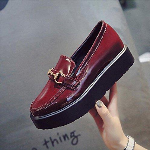 37 La Alumnas De De Bizcocho Nuevo Cuero Pequeña Coreana Solo De Pintura Zapatos De Zapatos Salvaje Espesa Versión Cuero KHSKX Zapatos Otoño De Femeninos q1ZgFUzcz