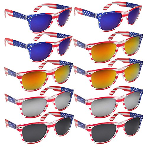 BULK WHOLESALE UNISEX 80'S RETRO STYLE BULK LOT PROMOTIONAL SUNGLASSES - 10 PACK (Assorted American - Flag Sunglasses