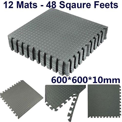 TrendMakers 12 PCS Waterproof Interlocking Soft Eva Foam Mats Pads Room Garage Floor Tiles Mat Set Kids Baby Play Puzzle…