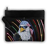 USA Mullet Eagle Double Layers Zipper Cosmetic Bag Makeup Brush Holder Bag