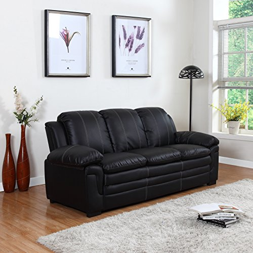 Divano Roma Classic Bonded Leather Sofa and Loveseat Living Room Furniture, Color Black, Brown, and White (Sofa, Black) price