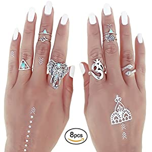 Shirley Turquoise Elephant Head Joint Knuckle Nail Midi Ring Set of 8 Rings