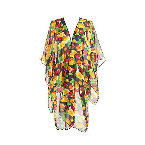 AOXION Women Bathing Suit Bikini Beach Swimwear Cover Up Sheer Chiffon Floral Print Loose Kimono Cardigan Colorful Fruit