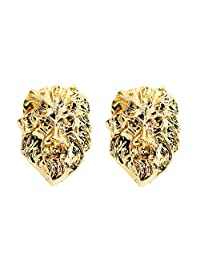 JoJo & Lin 18K Real Gold Plated Lion Head Casual Business Suit Shirt Collar Pin Brooch Tips Men Jewelry for him