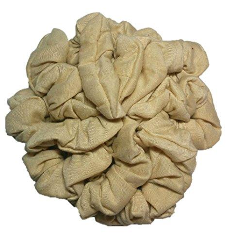 Cotton Scrunchie Set, Set of 10 Soft Cotton Scrunchies, Solid Color Packs (Beige) ()