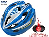 Kids Bike Helmet – Adjustable from Toddler to Youth Size, Ages 3 To 7 – Durable Kid Bicycle Helmets with Fun Racing Design Boys and Girls will LOVE – CSPC Certified for Safety (White Blue With Light)