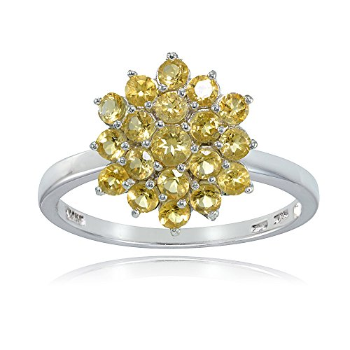 (Ice Gems Sterling Silver Genuine Citrine Flower Ring, Size 8)