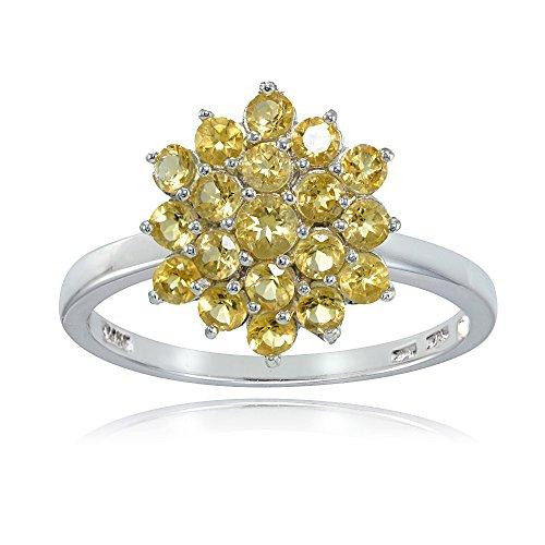 Ice Gems Sterling Silver Genuine Citrine Flower Ring, Size 8 ()