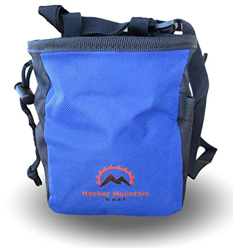Durable Climbing Chalk Bag with Chalk Ball and Belt Combo, Large Zippered Pocket, Water Resistant, and 2 oz Refillable Chalk Ball. For Rock Climbing, Bouldering, Weight Lifting, Crossfit, Gymnastics