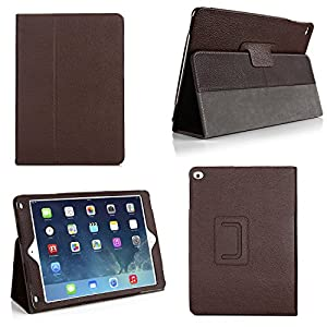Bear Motion Case for iPad Air 2 - Genuine Leather Folio Case for iPad Air 2 Case Cover (2014 Version) - Brown
