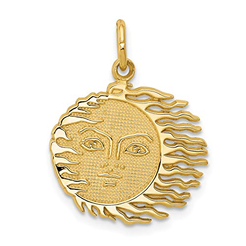 14k Yellow Gold Flaming Sun With Textured Face Charm - Charm Sun Flaming