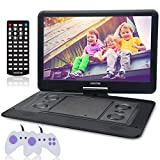 WONNIE 15.6' Large Portable DVD/CD Player with HD 1366x768 LCD TFT 270° Swivel Screen, Games/USB/SD Card Readers and Built-in Rechargeable Battery, Great Gift for Kids (Black)