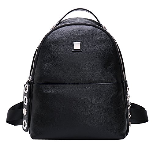 Fiswiss Women's Genuine Leather Fashion Backpack Everyday Purse (Black) by Fiswiss