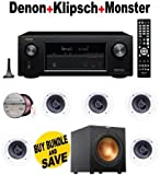 Denon AVRX3200W 7.2 Channel Full 4K Ultra HD A/V Receiver with Bluetooth and Wi-Fi + 5 Klipsch - R1800C + Klipsch - R10SW + Monster Cable - PLATXPMS50 Bundle by Electronics Expo
