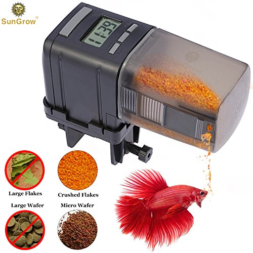 SunGrow Automatic Fish Feeder -- Easy To Install on Fish Tank - Never miss any feeding time - Ideal for vacation, weekend (Auto Fish Feeder)