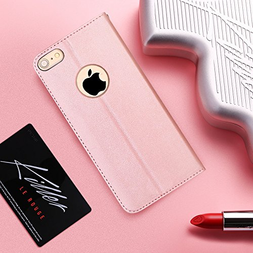FYY Luxury PU Leather Wallet Case for iPhone 6S Plus/iPhone 6 Plus, [Kickstand Feature] Flip Folio Case Cover with [Card Slots] and [Note Pockets] for Apple iPhone 6 Plus/6S Plus (5.5'') Rose Gold by FYY (Image #8)