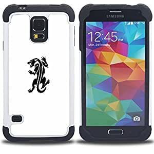 - panther monster tattoo ink decal white - - Doble capa caja de la armadura Defender FOR Samsung Galaxy S5 I9600 G9009 G9008V RetroCandy