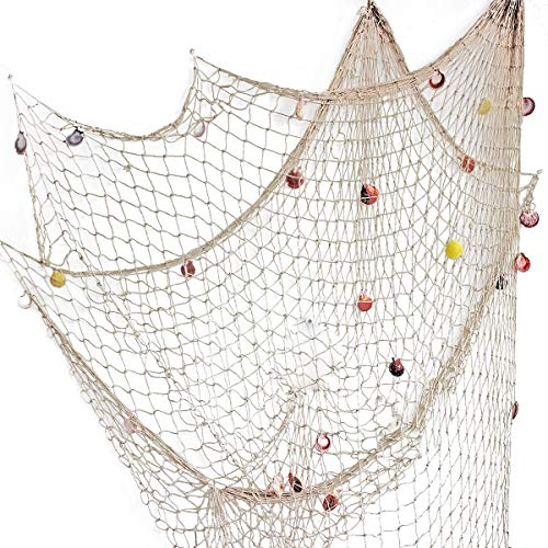 YOAYO Decorative Fishing Net, Sea Theme Nautical Fish Net Decor for Home/Patio Wall Decoration,Photo Hanging Display Frames,79x59inches,Beige ()