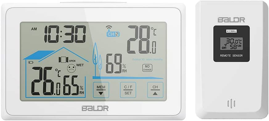 BALDR Digital Indoor Outdoor Thermometer /& Hygrometer Touch Screen Wireless Weather Station with Indoor Outdoor Temperature /& Humidity LED Back-Light
