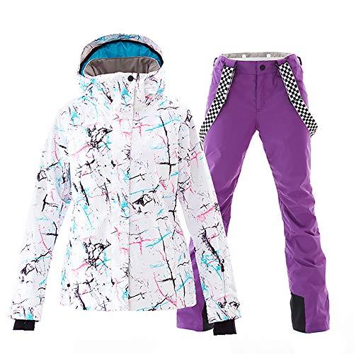 5284eacff0 Women s Waterproof Ski Jacket Colorful Snowboard Jacket and Purple Bib Pant  Suit(L)