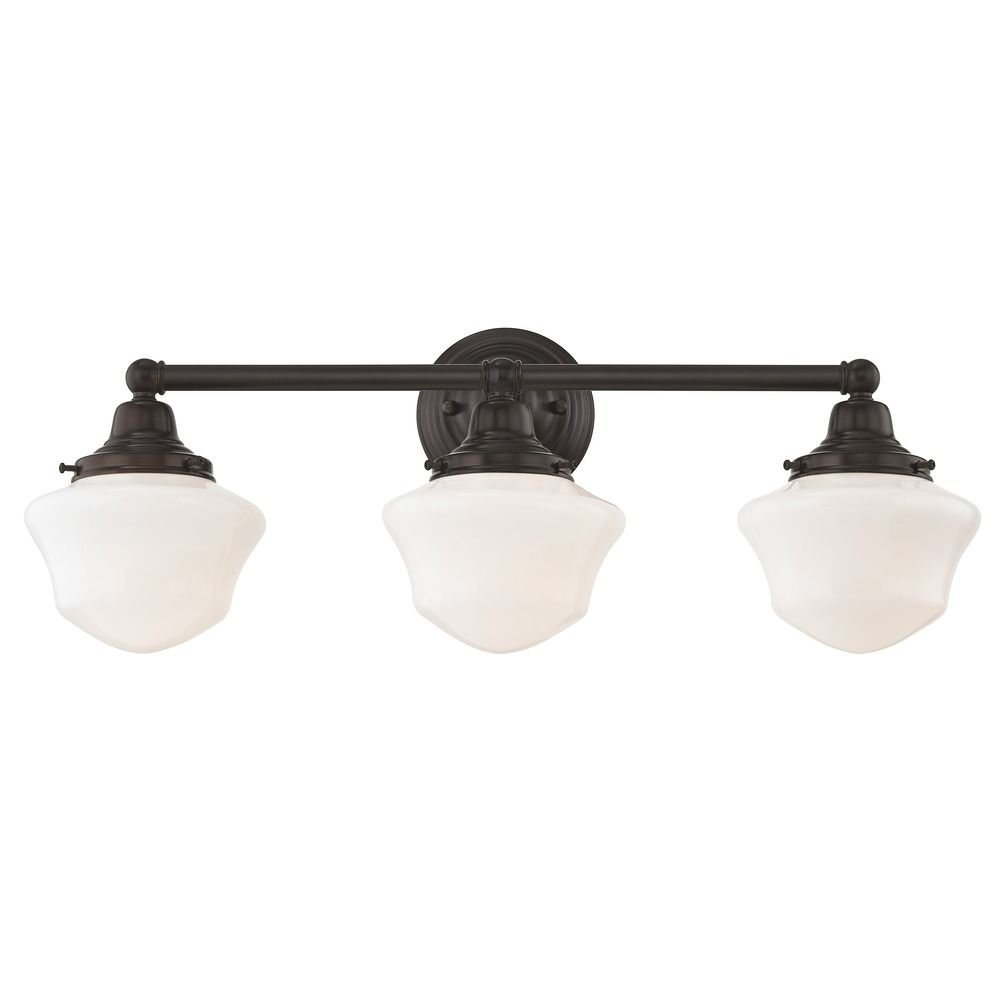 Schoolhouse Bathroom Light Bronze White Opal Glass 3 Light 23.125 Inch Length