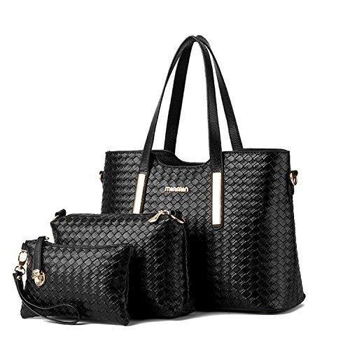 (Women Pu Leather Weave Handbag Purse Bag Set 3 Pieces Tote Bag Set Shoulder Bags Big Capacity Cross Body Bag,Black SILI)