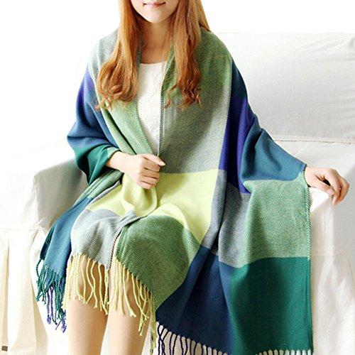 Urban CoCo Women's Classic Tartan Blanket Scarf & Wrap Shawl (green)