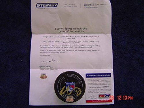 (Tampa Bay Lightning Ondrej Palat Game Used Signed 2015 Playoff Puck Steiner - PSA/DNA Certified - Autographed Other Game Used NHL Items)