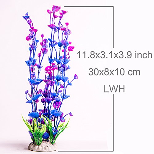 Image of Aquarium Plants Plastic Artificial Fish Tank Decorations Water Plant for Aquariums Decor,11.8 Inch Tall