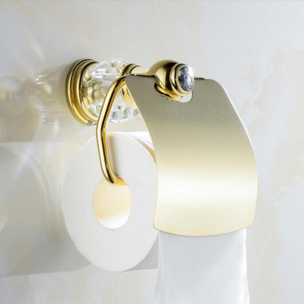 Leyden TM Bathroom Lavatory Luxury Gold Soild Brass Toilet Paper Holder Tissue Roll Holder Tissue Storage Tissue Organizer Wall Mounted, Polished Gold