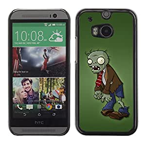 QCASE / HTC One M8 / zombie hombre verde personaje de dibujos animados monstruo / Delgado Negro Plástico caso cubierta Shell Armor Funda Case Cover