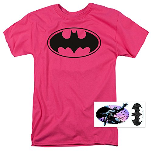 Batman Logo Tee (Pink Batman Logo T Shirt & Exclusive Stickers (Small))