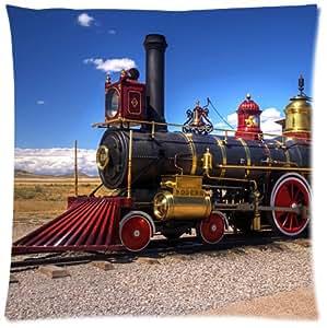 Tren clásico algodón y poliéster suave cuadrado cojín con cremallera manta carcasa funda de almohada de 18x 18(un lado)