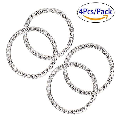 Vehicle Stops - Earthland 4Pcs Car Decor Crystal Rhinestone, Auto Engine Start Stop Decoration Crystal Interior Ring Decal for Vehicle Ignition Button-white