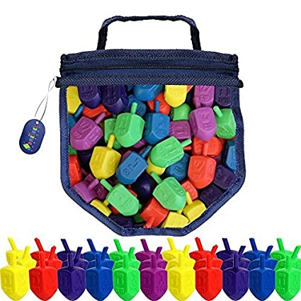 Hanukkah Dreidel Game 25 Plastic Dreidels With Game Play Instructions including Reusable Draydel Shaped Bag The Dreidel Company