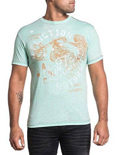 Affliction T-shirt Top - Affliction Men's Flagstaff Tee Shirt Mint Burnout Wash Medium