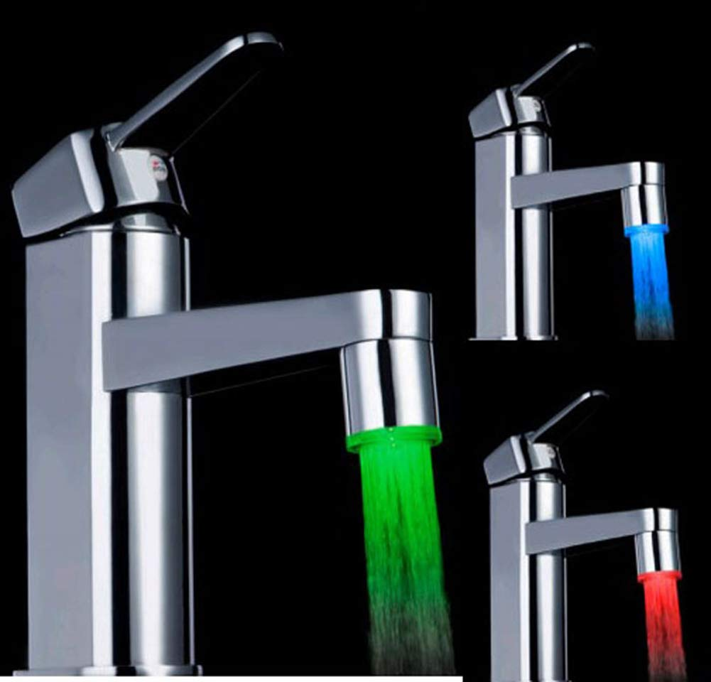 LED Water Faucet Stream Light Temperature Sensor 3 Colour Change Green Red Blue