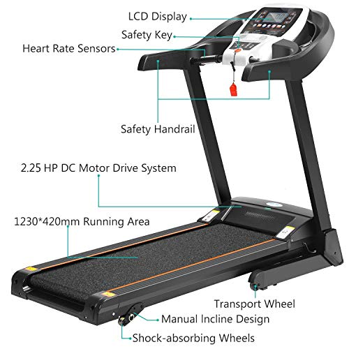 Folding Electric Treadmill Incline with Smartphone APP Control, Power Motorized Fitness Running Machine Walking Treadmill(US Stock) (2.25 HP #2) by Tomasar (Image #2)