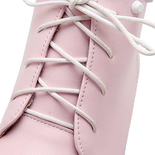 Kitten PU WeiPoot Low Women's Top Boots Lace Heels Solid Pink Up x0wXtrw