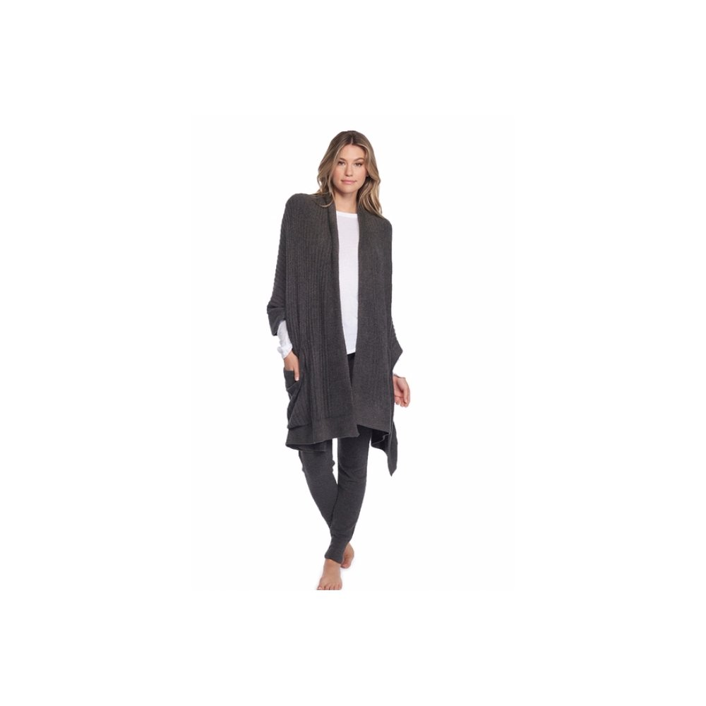 Cozychic Lite Travel Shawl, Women's Luxury Fashion Wrap Long Soft Sweater Shawl With Pockets-Carbon - By Barefoot Dreams by Barefoot Dreams
