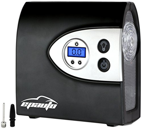 EPAuto 12V DC Auto Portable Air Compressor Pump w/Digital Tire Inflator and Preset Pressure Shut Off Gauge for Compact/Midsize Sedan SUV