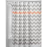 Hot Pink Chevron Shower Curtain InterDesign Chevron Shower Curtain, 72 x 72-Inch, Light Gray/Coral